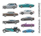 luxury car vector retro auto...   Shutterstock .eps vector #1040804902