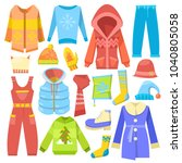 winter clothes vector warm... | Shutterstock .eps vector #1040805058