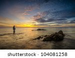fisherman and the rock at... | Shutterstock . vector #104081258