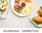 breakfast on a light background | Shutterstock . vector #1040827132
