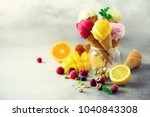 colorful red  pink  yellow ... | Shutterstock . vector #1040843308
