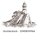 lighthouse and sea. marine... | Shutterstock .eps vector #1040854966