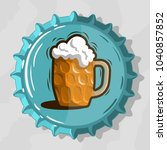glass mug of draft beer with...   Shutterstock .eps vector #1040857852