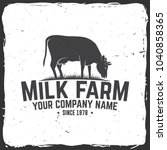 milk farm badge or label.... | Shutterstock .eps vector #1040858365