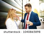 young business people are... | Shutterstock . vector #1040865898