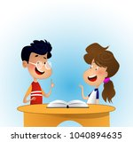 two children discussing some... | Shutterstock .eps vector #1040894635