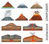 volcano vector eruption and... | Shutterstock .eps vector #1040918005