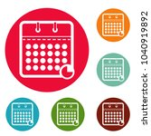 calendar business icons circle...