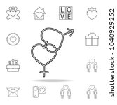 sign of sex with hearts icon.... | Shutterstock .eps vector #1040929252