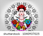 frida kahlo vector portrait  | Shutterstock .eps vector #1040937025