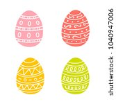 colorful easter eggs hand drawn ... | Shutterstock .eps vector #1040947006