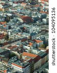 cityscape of Berlin seen from aerial view - stock photo
