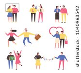 a variety of love expressions...   Shutterstock .eps vector #1040963542