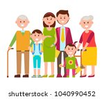 family standing together ... | Shutterstock .eps vector #1040990452