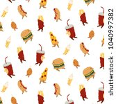 vector pattern with pizza...   Shutterstock .eps vector #1040997382