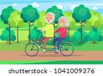 happy mature couple riding... | Shutterstock .eps vector #1041009376