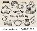 breakfast illustration. toaster ... | Shutterstock .eps vector #1041021022
