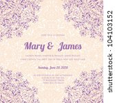 wedding card or invitation with ... | Shutterstock .eps vector #104103152