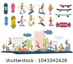 skateboarder active people park ... | Shutterstock .eps vector #1041042628