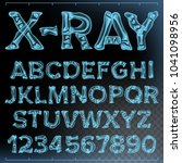 x ray font vector. transparent... | Shutterstock .eps vector #1041098956