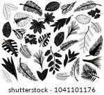 black icons of tropical leaves. ... | Shutterstock .eps vector #1041101176