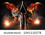 man in a fantasy costume of a... | Shutterstock . vector #1041110278