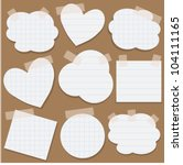 set of torn paper stickers with ... | Shutterstock .eps vector #104111165