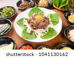 korean style horse tartar | Shutterstock . vector #1041130162