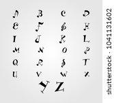 music 26 alphabet. | Shutterstock .eps vector #1041131602