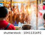 full body roast duck in shop | Shutterstock . vector #1041131692