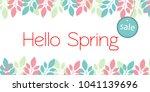 banner hello spring sale.... | Shutterstock .eps vector #1041139696