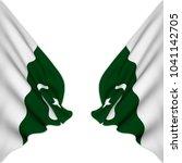 double flag of pakistan... | Shutterstock . vector #1041142705