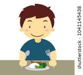 hungry asian boy eating rice   Shutterstock .eps vector #1041145438
