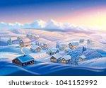 winter landscape with village... | Shutterstock . vector #1041152992