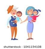 mature couple holding children...   Shutterstock . vector #1041154108