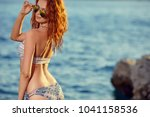 woman in bikini looking into... | Shutterstock . vector #1041158536