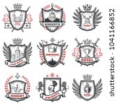 medieval knight coats of arms... | Shutterstock .eps vector #1041166852