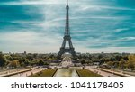 the eiffel tower  is a wrought... | Shutterstock . vector #1041178405