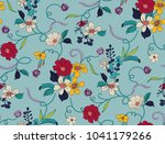 seamless floral pattern in... | Shutterstock .eps vector #1041179266