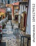 colorful city street in porto ...   Shutterstock . vector #1041179512
