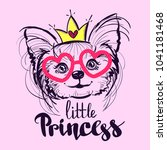 Stock vector t shirt design with puppy pet line drawing little princess illustration animal wallpaper pretty 1041181468