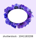anemone bouquet with frame | Shutterstock . vector #1041183208
