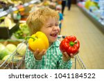 funny spring shopping. joyful... | Shutterstock . vector #1041184522