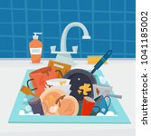 sink with dirty kitchenware and ... | Shutterstock .eps vector #1041185002
