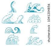ocean storm waves vector set of ... | Shutterstock .eps vector #1041204856