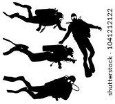 black set silhouette scuba... | Shutterstock .eps vector #1041212122