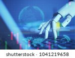 robot finger point to laptop... | Shutterstock . vector #1041219658
