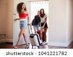 group of female friends... | Shutterstock . vector #1041221782