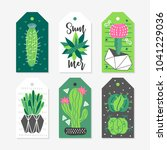 six summer gift tags with... | Shutterstock .eps vector #1041229036