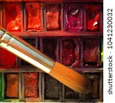 watercolour paints and... | Shutterstock . vector #1041230032